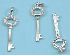 CZ Crystal Micro Pave Platinum Plated Key Charm Pendant Necklace or Bracelet
