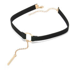 4 Colors Leather Choker Necklace Geometry With Round Pendant Collar Necklace