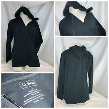 L.L. Bean Hoodie Jacket L Women Black Cotton Lycra Full Zip LNWOT YGI C0-193