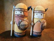 "WOODEN SALT AND PEPPER SHAKERS ""ESTONIA"" WARRIORS MAN AND WOMAN"