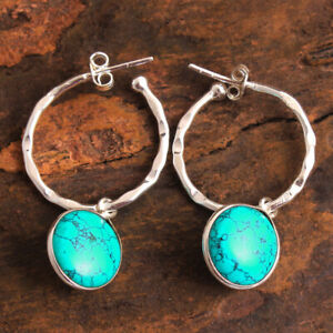 HANDMADE 925 Solid Sterling Silver Fine Jewelry Turquoise Gemstone Earring