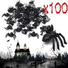 100X Neu Plastic Black Spider Trick Toy Party Halloween Haunted House Prop Decor