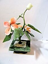 JADE JADEITE FLORAL SCULPTURE ROSE FLOWER POT FAUX CORAL VINTAGE ORIENTAL ASIAN