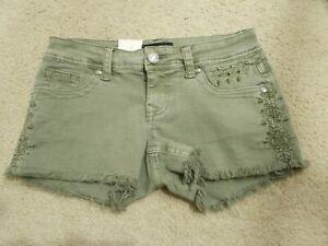 GRACE IN LA Green Denim Jean Shorts Accent Pocket Sz 25 New