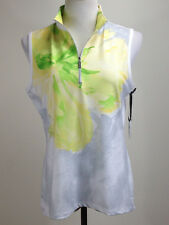 *NEW* CHICO'S Zenergy Floral GOLF Vest (UV, Wicking) - 1 (8),Yellow Green White
