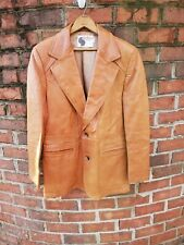 Silton Vintage Soft Cognac Leather Size 40 Jacket / Blazer