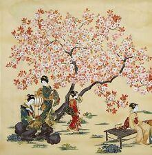 JAPANESE ROBERT KAUFMAN ORIENTAL TRADITION GEISHA BLOSSOM CRM  COTTON PNL FABRIC