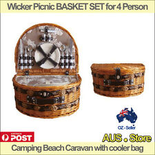 Wicker Picnic BASKET SET for 4 Person Camping Beach Caravan with cooler bag