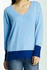 NWT J Jill COLORBLOCK V-Neck Shirt Sweater Light Periwinkle BLUE Navy Top XL