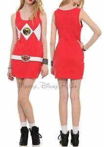 Mighty Morphin Power Rangers Red Ranger Costume Dress Juniors Sizing S-XL New
