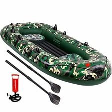 4 Person Inflatable Boat Canoe - 9FT Raft Inflatable Kayak with Air Pump Rope