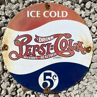VINTAGE PEPSI COLA PORCELAIN SIGN SODA DRINK POP OIL GAS PLATE PETROLIANA FARM