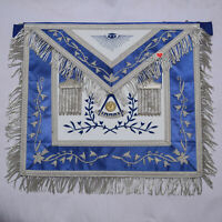 Masonic Past Master Blue Silk Border Apron Silver Hand Embroidery - WLC