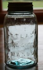Vintage Atlas Strong Shoulder Mason Blue Quart Jar with a Ball Zinc Lid
