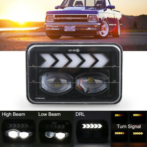 For Chevrolet S10 1995 1996 1997 DOT 4x6 LED Headlight Projector Beam with DRL