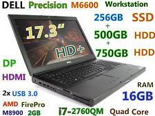 "Graphic-Design 17.3""  Workstation DELL M6600 i7-QUAD 256GB-SSD+500GB+750GB 16GB"
