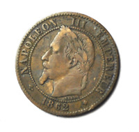 1862 BB France 2 Centimes KM# 796.5 Bronze Coin Rare