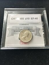 1955   Coin Mart  Graded Canadian,  ¢10  Cent, **EF-40**