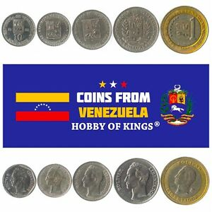5 DIFFERENT COINS - VENEZUELA. OLD COLLECTIBLE CURRENCY MONEY FROM LATIN AMERICA
