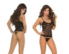 Elegant Moments, Checkered Pattern Mesh Cami & G-String Panty Sexy Lingerie Set