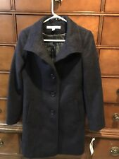DKNY Navy Warm Wool Blend Fitted Coat Jacket Parka Winter Long Women $360