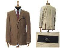Mens HUGO BOSS Blazer Coat Jacket Wool Mohair Cashmere Checked Beige Size 44 54