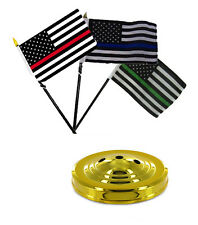 """USA Red Blue Green Thin Line American Flag 4""""x6"""" Desk Set Table Stick Gold Base"""