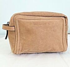 BRUNELLO CUCINELLI Tan Brown Textured Leather Beauty Bag Travel Clutch