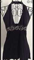 Arden b Black Sequin Flower Silk Detail Halter Top Shirt Small
