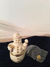Lenox Treasures The Spirit of the Season Snowman Hinged Trinket Box Gift Charm