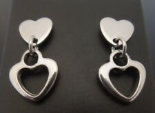 8mm Stainless Steel Heart Studs Stud Earrings With SMALL Heart Dangle Charm