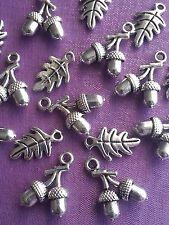 20 pcs - 10 3D glands + 10 feuilles de chêne Tibetan Silver Charms Pendentif Pagan Wiccan