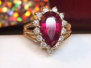 VINTAGE ESTATE 14K GOLD NATURAL  TOURMALINE  DIAMOND RING ENGAGEMENT APPRAISAL