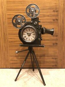 Metal Past Times Retro Movie Film Camera Clock Actor Gift New In Box. 51cm