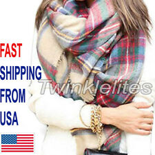 Blanket Oversized Tartan Scarf Wrap Shawl Plaid Cozy Checked Pashmina Women Hot