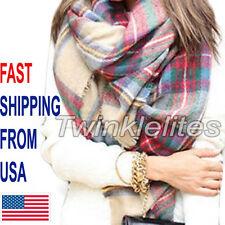 Blanket Oversized Tartan Scarf Wrap Shawl Plaid Cozy Checked Pashmina Women Hot