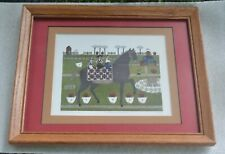 "Catherine Grunewald Folk Art ""Chicken For Lunch"" SIGNED & NUMBERED HORSE PICNIC"