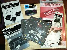 New~Graduation Party Supply Kit: (2) RedTablecloths , (36) Napkins, & Other Misc