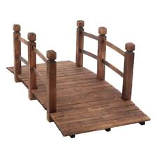 5' Wooden Bridge Stained Finish Decorative Solid Wood Garden Arch Walkway