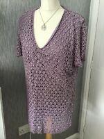 Debenhams Classics Size 22 Cap Sleeved Heavy Lace Top - Bodice Lined
