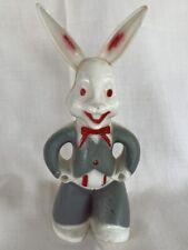 Vintage 1940's Rosen Long Eared Easter Rabbit Grey, White & Red Figure #71