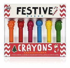 Npw Np41057 Festive Christmas Crayons Set Of 6 red/yellow/orange/pink/bl ue/green