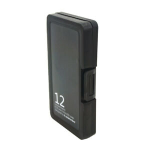 Black Memory Card Storage Box Case Holder w/ 12 Slots for TF Card + SD Cards