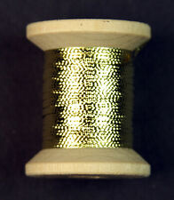 Embossed Metal/Mylar Tinsel Wooden Spool Gold (size 14) 10 Yards