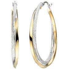 Damen Creolen verschlungen 925 Sterling Silber bicolor vergoldet Ohrringe.