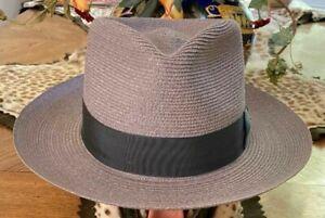BILTMORE LUCCA * MENS GREY HEMP BRAID FEDORA * 7 * NEW PANAMA STYLE STRAW HAT