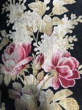 """Antique French Fabric panel c1890 Napoleonic Toile Black And Roses Pinks 22""""/90"""""""