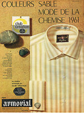 Publicite ADVERTISING 124 1961 Armorial club creation shirt color sand