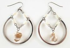 £35 Silver Rhodium White Brown Mother Of Pearl Shell Round Hoop Drop Earrings