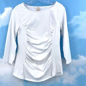 SUNDANCE CATALOG M White Cotton Ruched 3/4 Sleeve Stretchy Knit Top Tee